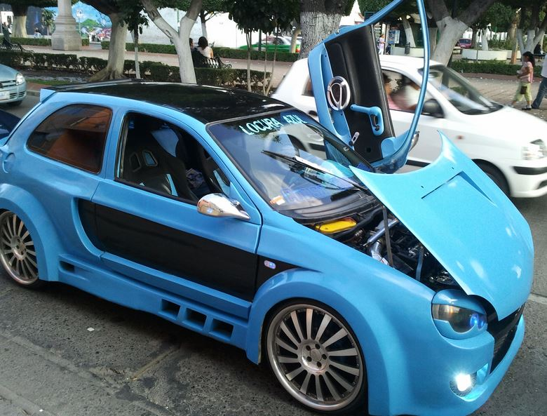 Modified car blue