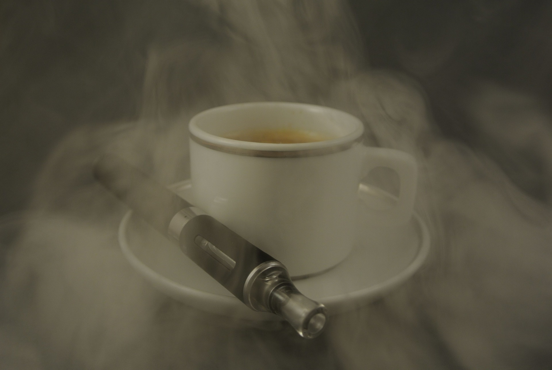 e-cig and coffee