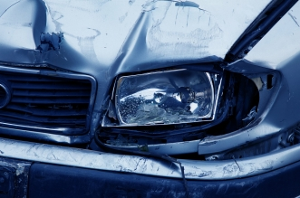 car crash damage on headlight